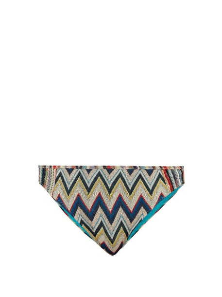 Missoni Mare - Metallic Zigzag Knitted Bikini Briefs - Womens - Multi