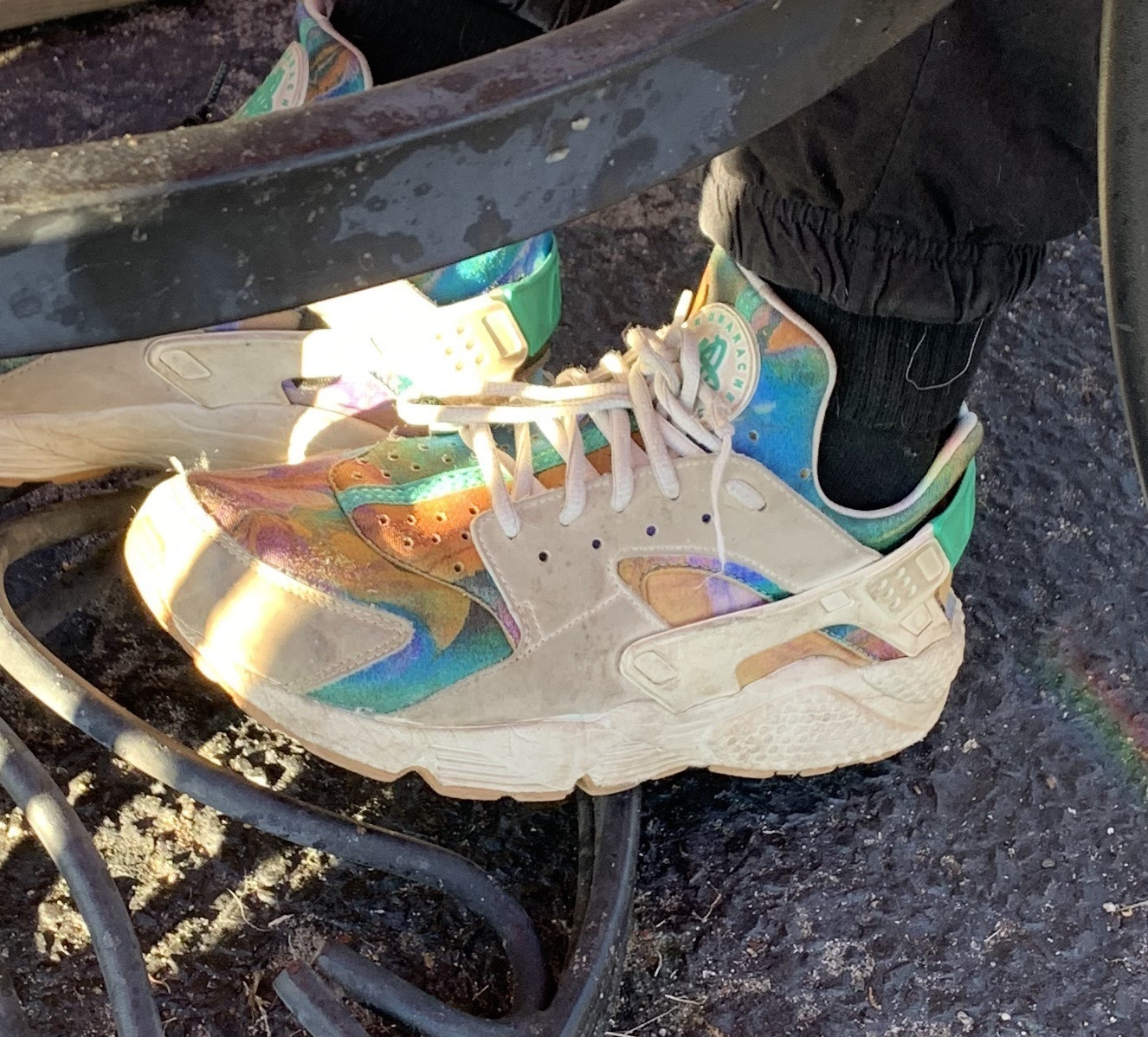shoes nike sneakers tie dye rainbow colorful multicolor white white sneakers blue orange