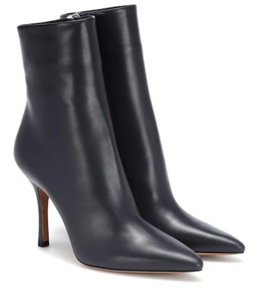 The Row Gloria leather ankle boots in blue