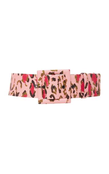 Carolina Herrera Leopard-Print Cotton-Blend Belt in pink