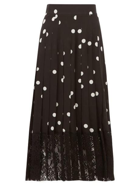 Dolce & Gabbana - Lace Trimmed Polka Dot Pleated Silk Blend Skirt - Womens - Black White