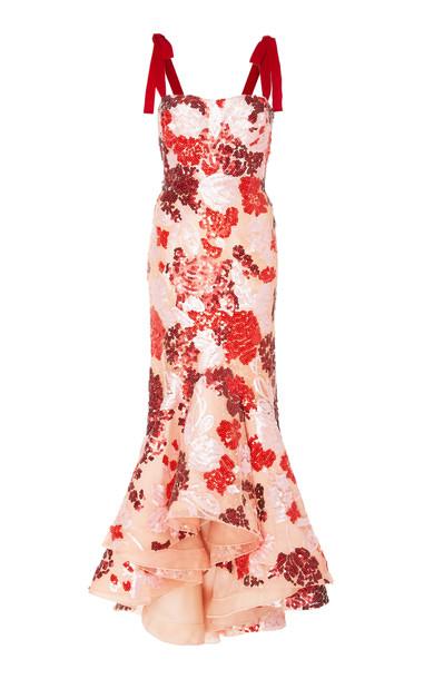 Silvia Tcherassi Exclusive Peonia Asymmetric Sequined Georgette Midi Dress in red