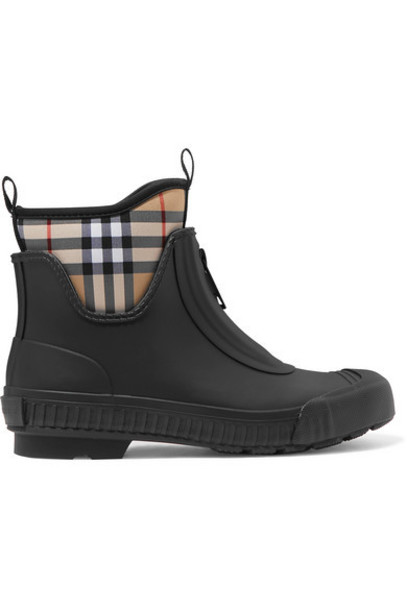 Burberry - Checked Canvas And Rubber Rain Boots - Black