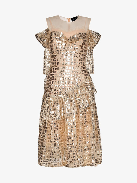 Simone Rocha Ruffled sequins dress in gold