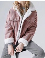 jacket,girly,girl,girly wishlist,pink,fur jacket,fur,corduroy,button up