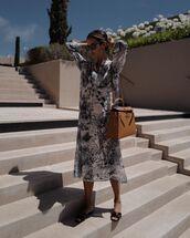 bag,brown bag,midi dress,dior,flat sandals