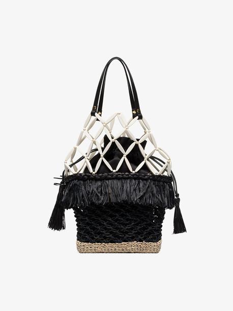 Aranáz Abaca net basket bag in black