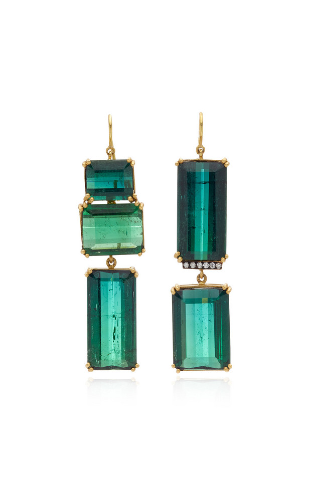 Sylva & Cie Tourmaline, Diamond 18K Yellow Gold Earrings in green