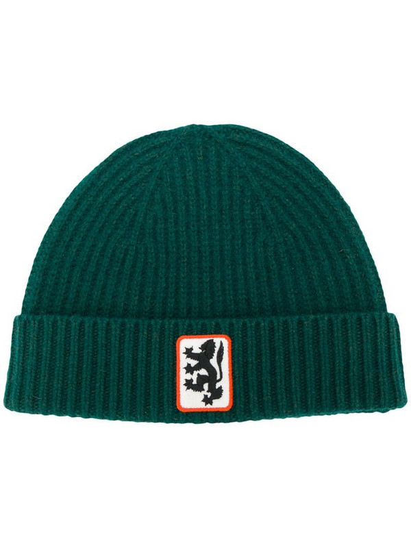 Pringle of Scotland Reissued lion badge beanie in green