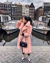 coat,pink coat,long coat,faux fur coat,sneakers,black pants,black bag,gucci bag,black turtleneck top