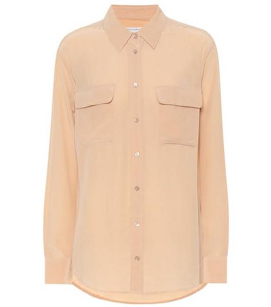 Equipment Slim Signature silk shirt in beige