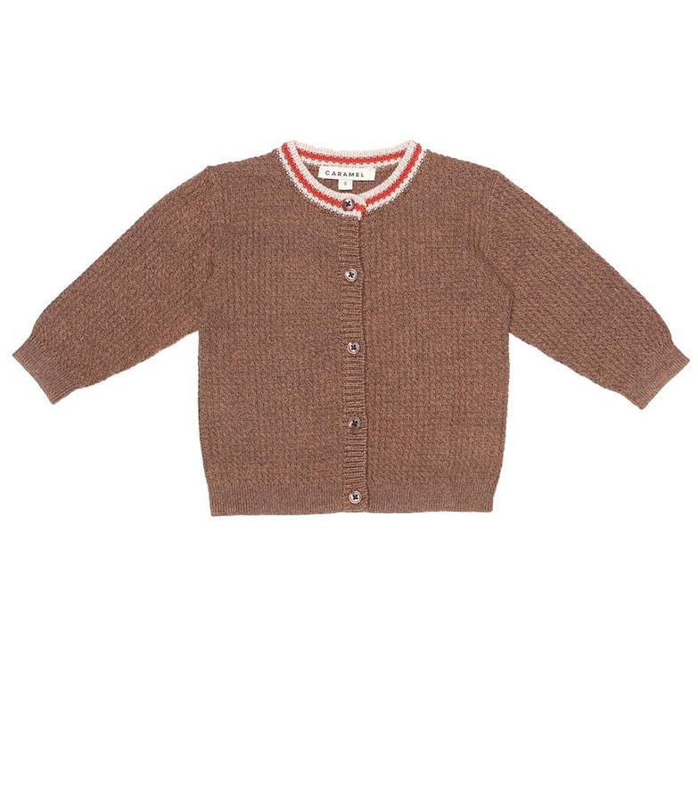 Caramel Baby Camden cotton cardigan in brown