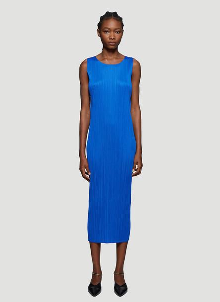 Pleats Please Issey Miyake Basic Pleated Sleeveless Dress in Blue size JPN - 3