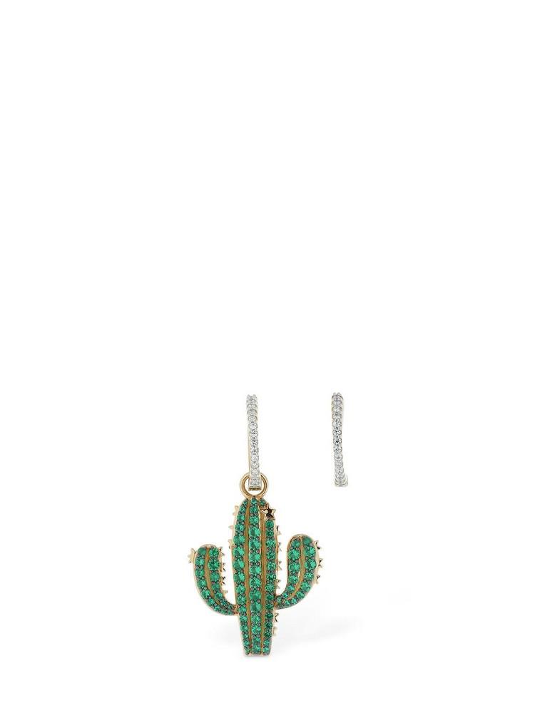 APM MONACO Asymmetric Arc-en-ciel Cactus Earrings in gold / green