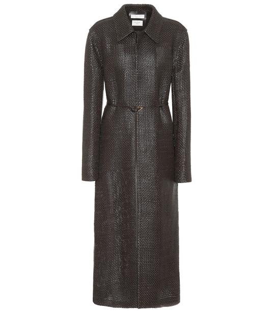 Bottega Veneta Woven leather coat in brown