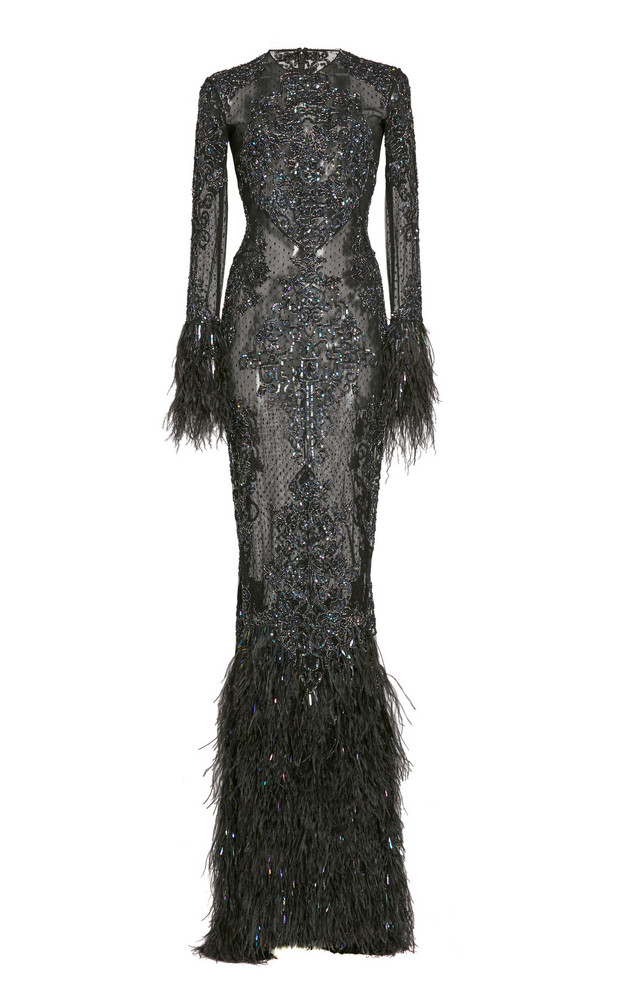 Zuhair Murad Beaded And Feather-Trimmed Silk Gown in black