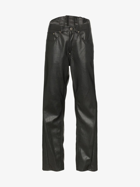 pushBUTTON Faux leather corset trousers in black