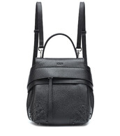 mini,backpack,leather backpack,leather,black,bag