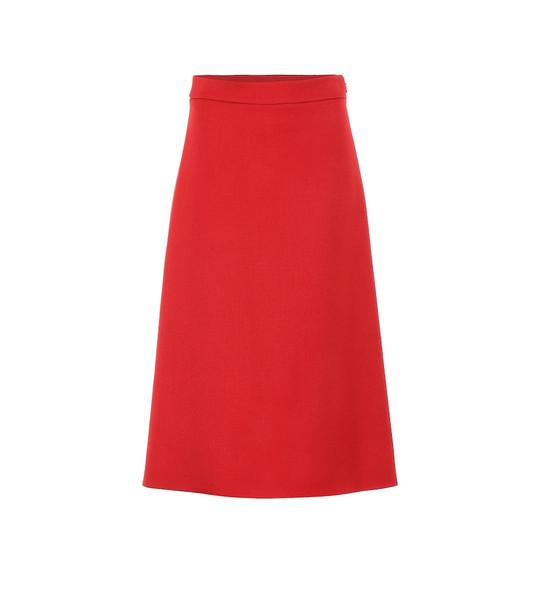 Prada Wool midi skirt in red