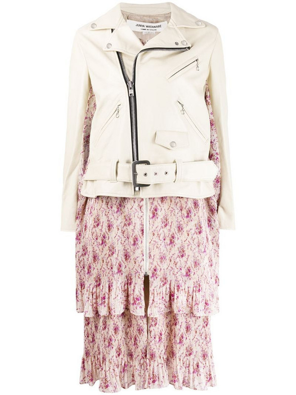 Junya Watanabe floral-print panel jacket in neutrals