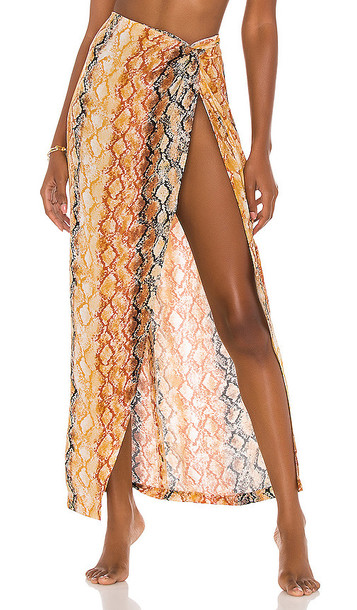 L*SPACE Mia Cover Up in Yellow,Brown
