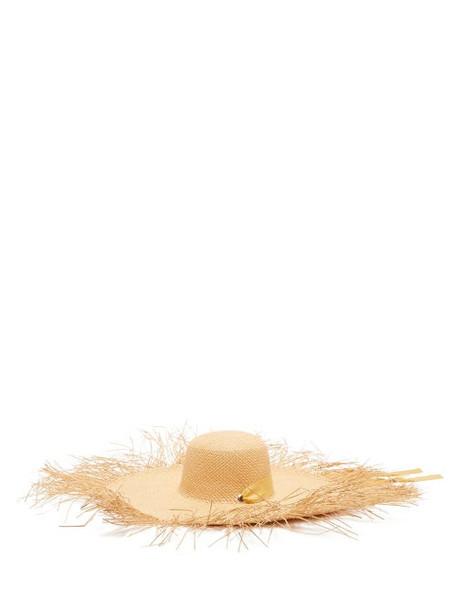 Sensi Studio - Lady Ibiza Fringed Wide-brim Straw Hat - Womens - Beige