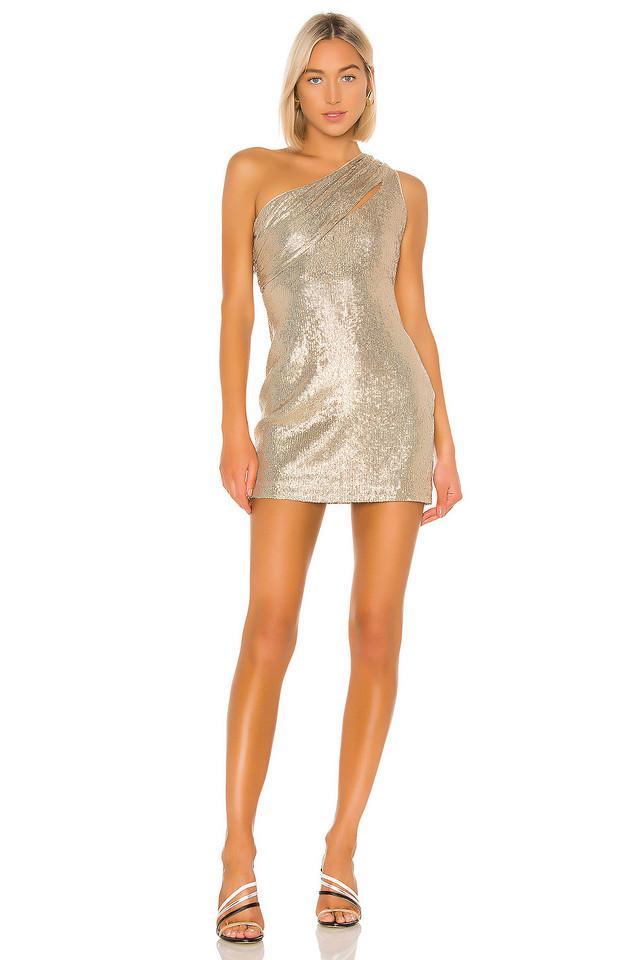 RACHEL ZOE Magda Dress in gold / metallic