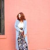 shirt,skirt,belt,shoes,bag,tf diaries,blogger,jacket,spring outfits,blue coat,floral skirt