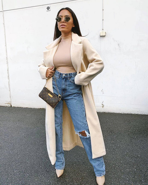 coat top jeans