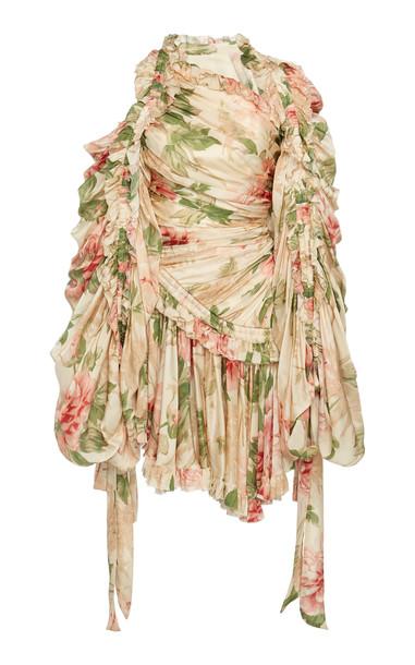 Zimmermann Ruched Floral-Print Silk-Chiffon Mini Dress in pink
