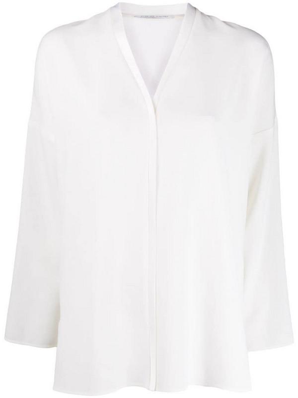 Agnona V-neck loose-fit blouse in white