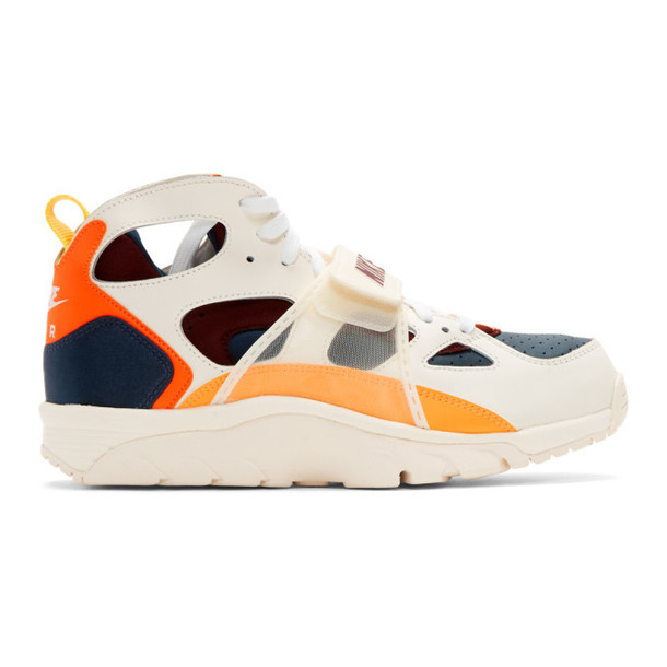 Nike White & Orange Air Trainer Huarache QS Sneakers