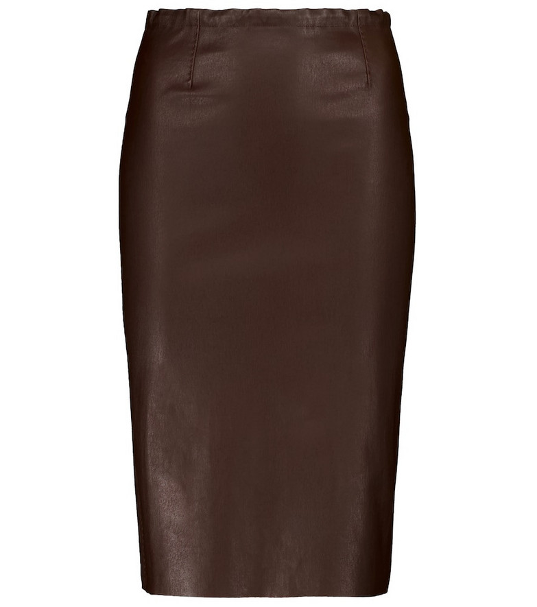 STOULS Gilda leather pencil skirt in brown
