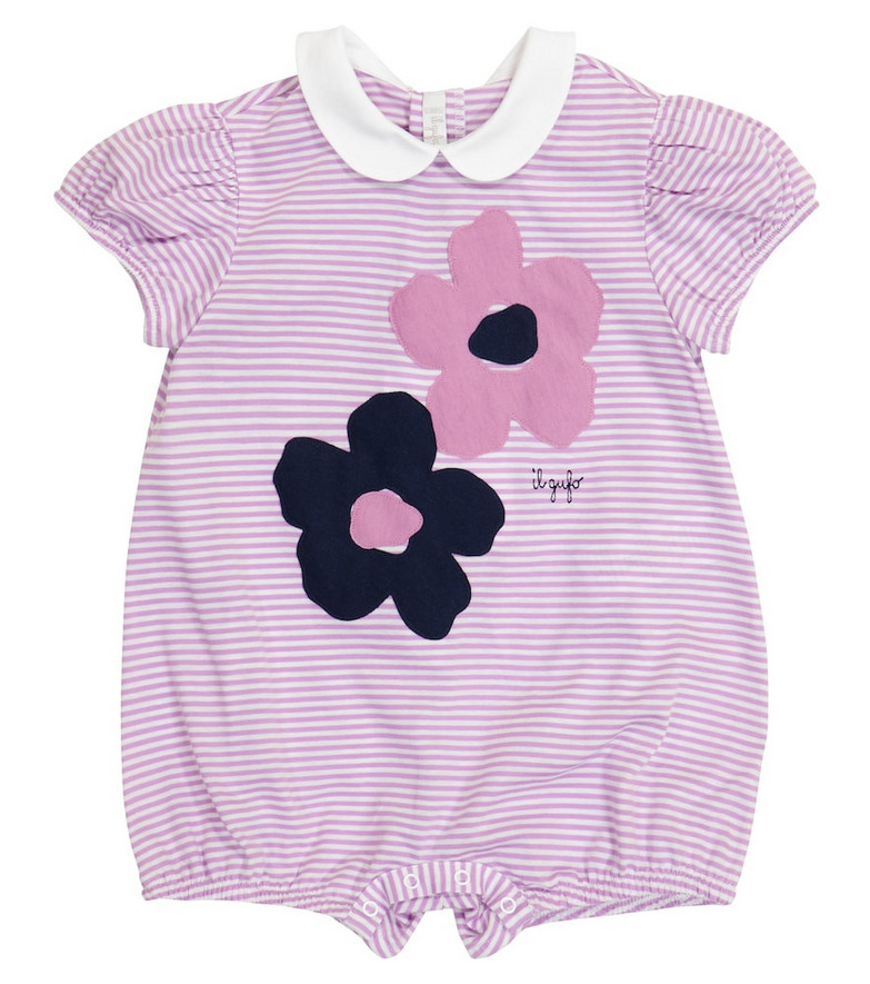 Il Gufo Baby striped cotton playsuit in purple