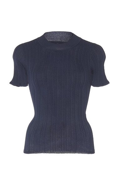 Jacquemus Afa Short-Sleeve Ribbed-Knit Top Size: 36 in navy