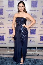 dress,gown,prom dress,blue dress,sophia bush,celebrity,strapless,sequins,sequin dress