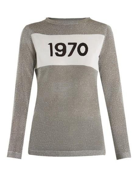 Bella Freud - 1970 Intarsia Knit Sweater - Womens - Silver