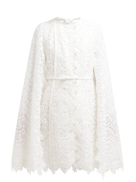 Giambattista Valli - Floral Cotton Blend Lace Cape Coat - Womens - Ivory