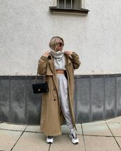pants,joggers,topshop,sneakers,trench coat,grey sweater,turtleneck sweater,black bag