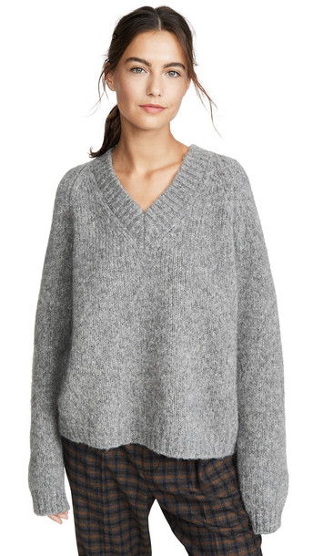 Mansur Gavriel V Neck Alpaca Sweater in grey