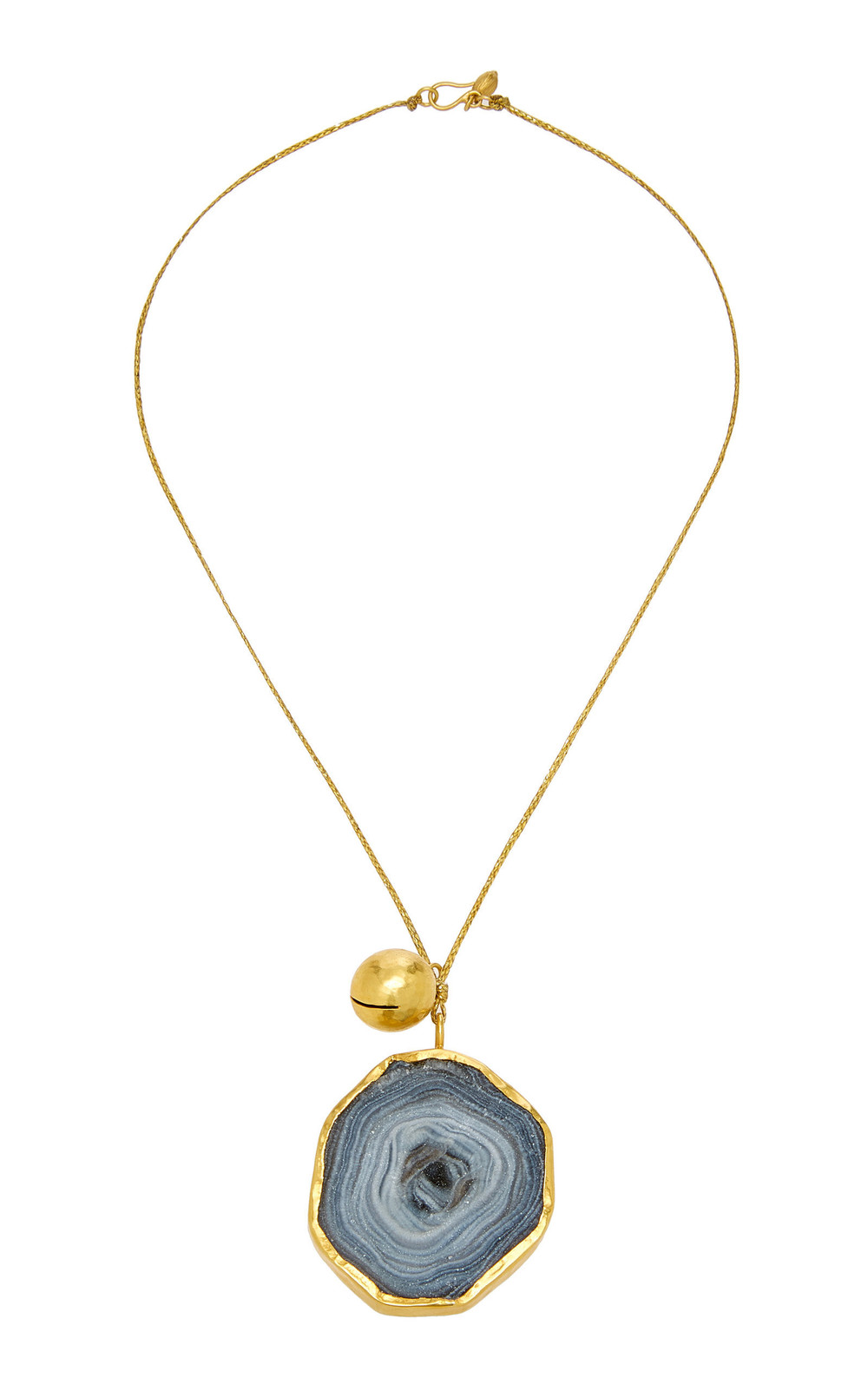 Pippa Small Large Colette Set Desert Druzy Pendant With Gold Bell On Cord in grey