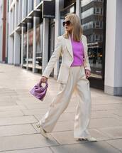 sweater,pink sweater,white blazer,stripes,topshop,wide-leg pants,high waisted pants,pleated,handbag,pumps