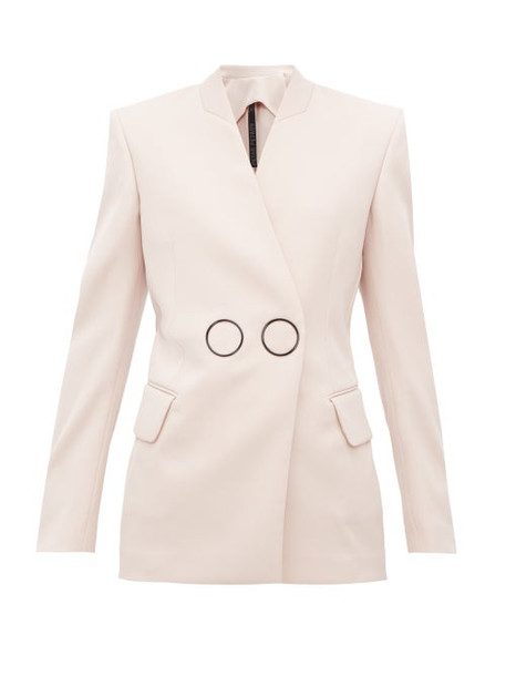 Petar Petrov - Jestine Collarless Double Breasted Wool Jacket - Womens - Light Pink