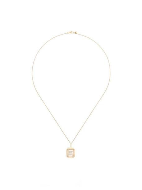 Mateo 14kt gold diamond E initial necklace