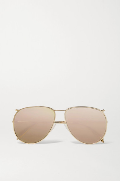 Alexander McQueen - Piercing Aviator-style Gold-tone Mirrored Sunglasses