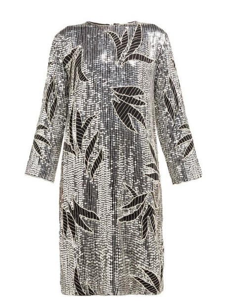 Dodo Bar Or - Clara Floral Sequinned And Beaded Shift Dress - Womens - Silver