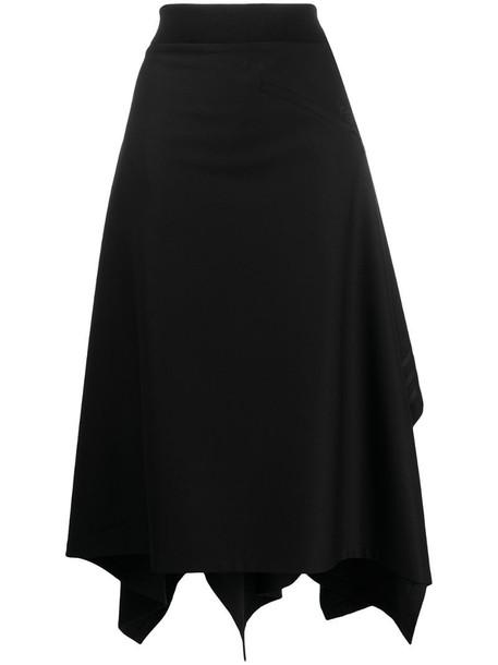 Y-3 long asymmetric hem skirt in black