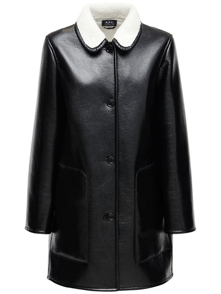 A.P.C. Faux Leather Midi Coat in black / ivory