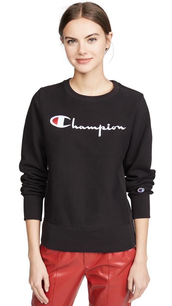 Champion Premium Reverse Weave Big Script Crew Neck Sweatshirt in black