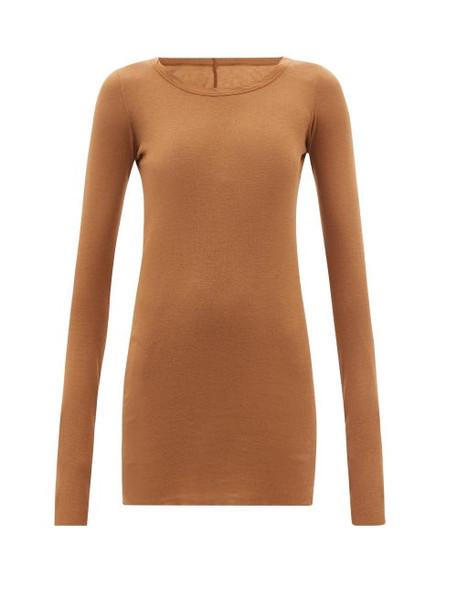 Rick Owens - Round-neck Cotton-jersey Long-sleeved T-shirt - Womens - Beige